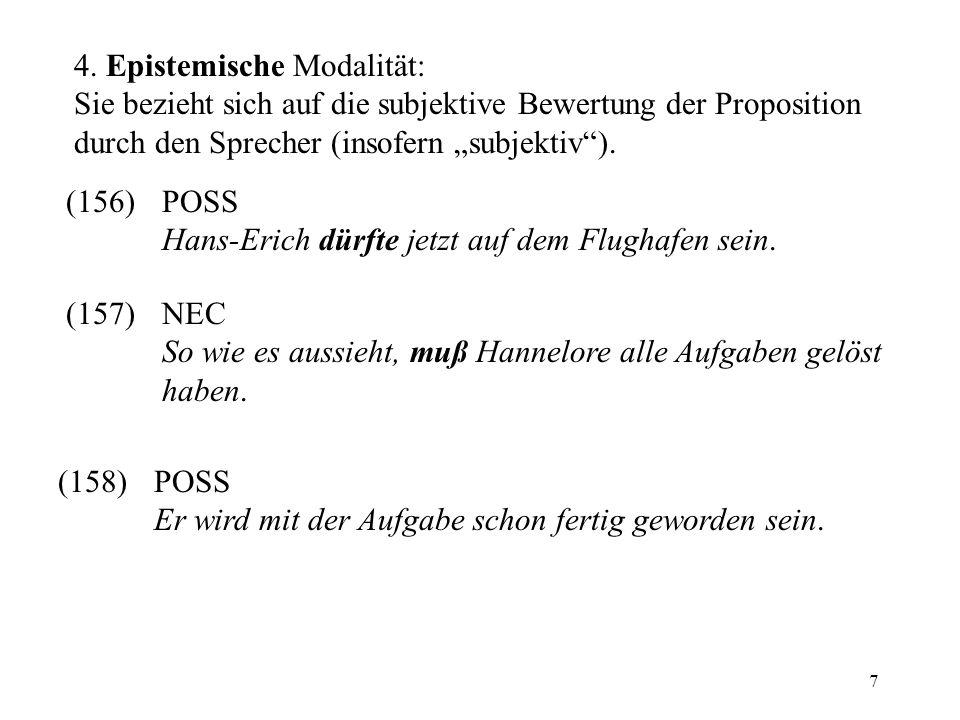 7 4. Epistemische Modalität: Sie bezieht sich auf die subjektive Bewertung der Proposition durch den Sprecher (insofern subjektiv). (156)POSS Hans-Eri