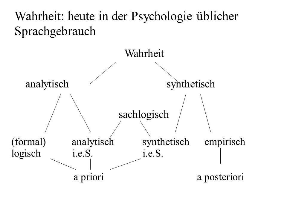 Wahrheit: heute in der Psychologie üblicher Sprachgebrauch Wahrheit analytischsynthetisch sachlogisch (formal) analytisch synthetisch empirisch logisc
