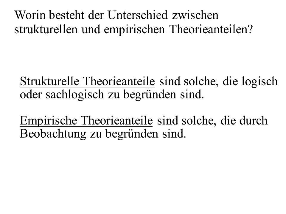 Strukturelle Theorieanteile sind solche, die logisch oder sachlogisch zu begründen sind. Empirische Theorieanteile sind solche, die durch Beobachtung