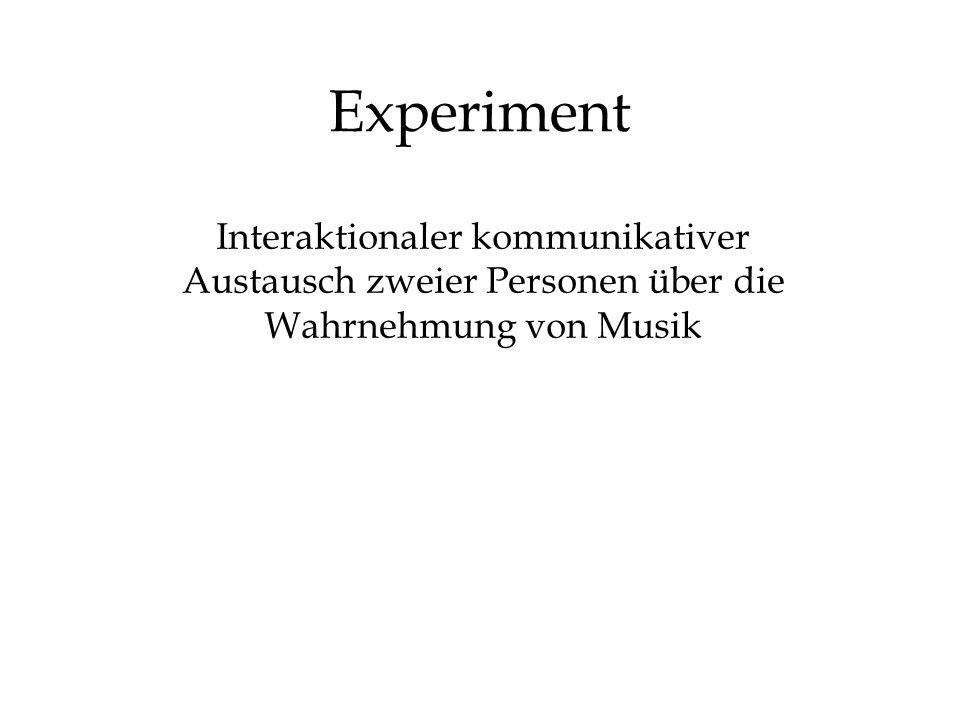 Experiment Interaktionaler kommunikativer Austausch zweier Personen über die Wahrnehmung von Musik