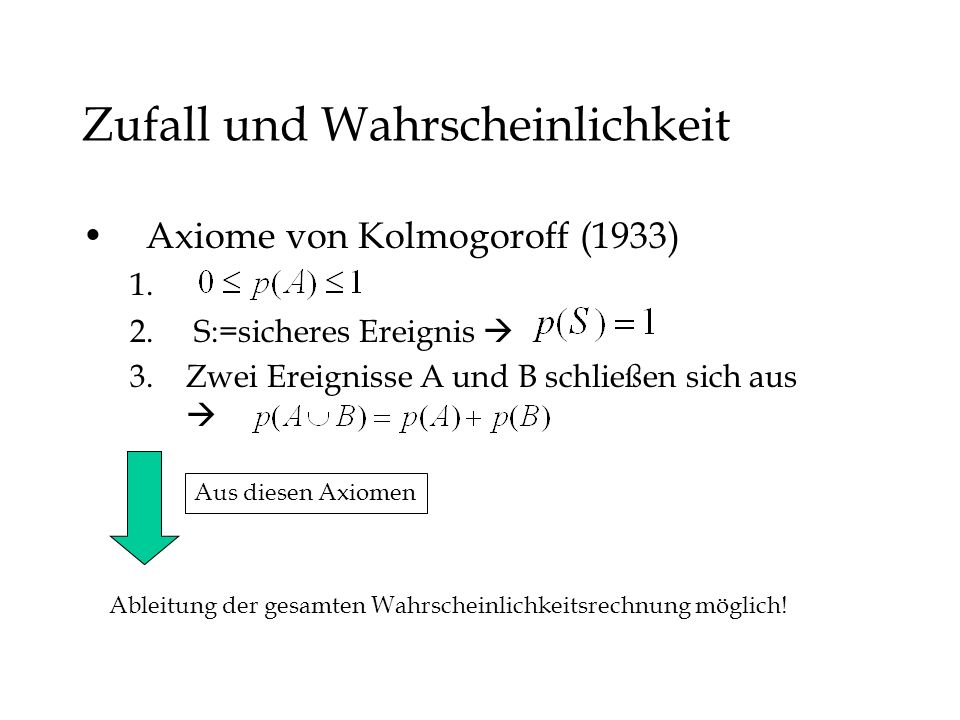 Zufall und Wahrscheinlichkeit Axiome von Kolmogoroff (1933) 1. 2. S:=sicheres Ereignis 3.Zwei Ereignisse A und B schließen sich aus Ableitung der gesa
