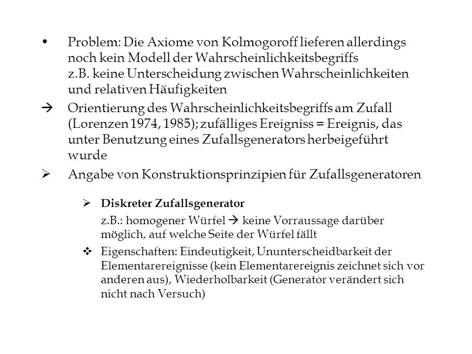 Problem: Die Axiome von Kolmogoroff lieferen allerdings noch kein Modell der Wahrscheinlichkeitsbegriffs z.B. keine Unterscheidung zwischen Wahrschein