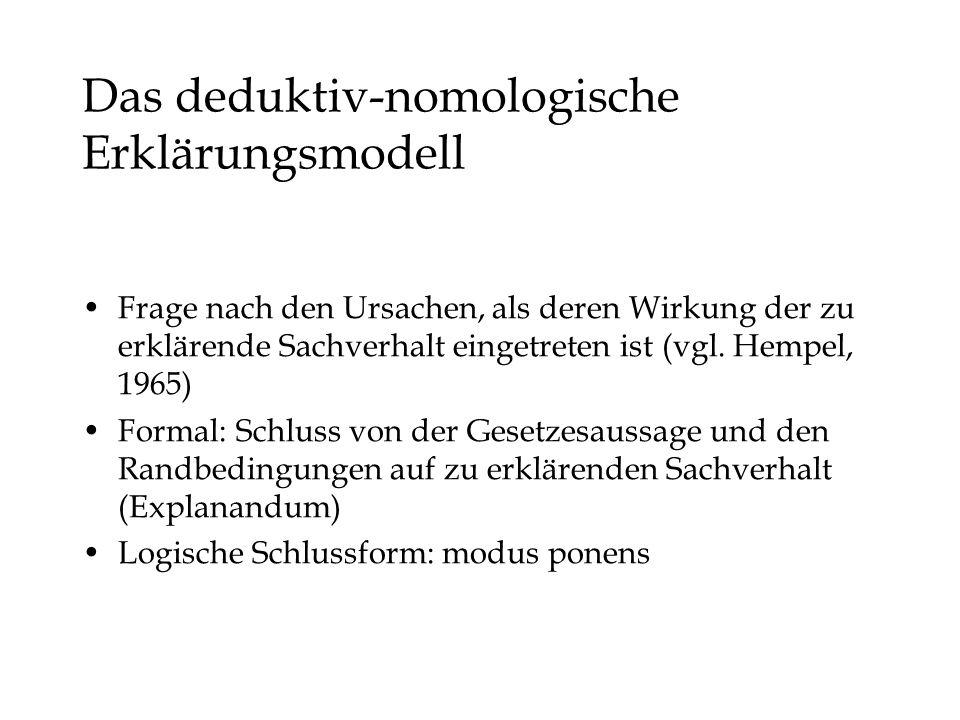 Das deduktiv-nomologische Erklärungsmodell Frage nach den Ursachen, als deren Wirkung der zu erklärende Sachverhalt eingetreten ist (vgl.