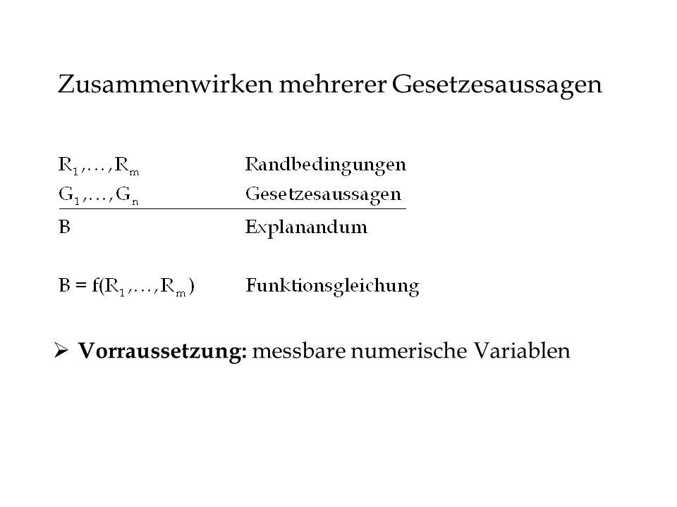 Zusammenwirken mehrerer Gesetzesaussagen Vorraussetzung: messbare numerische Variablen