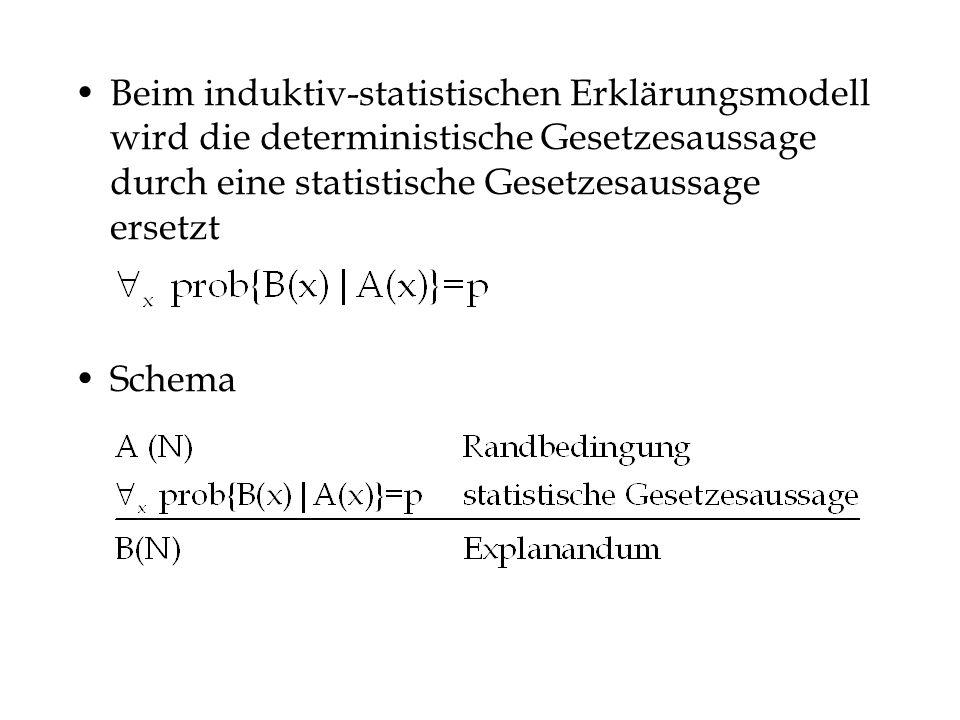Beim induktiv-statistischen Erklärungsmodell wird die deterministische Gesetzesaussage durch eine statistische Gesetzesaussage ersetzt Schema