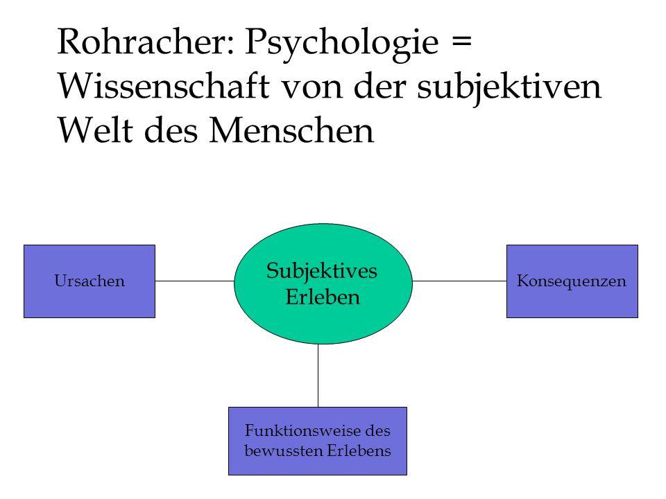 Rohracher: Psychologie = Wissenschaft von der subjektiven Welt des Menschen Subjektives Erleben Funktionsweise des bewussten Erlebens UrsachenKonsequenzen