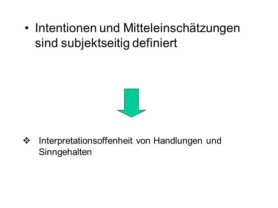Intentionen und Mitteleinschätzungen sind subjektseitig definiert Interpretationsoffenheit von Handlungen und Sinngehalten