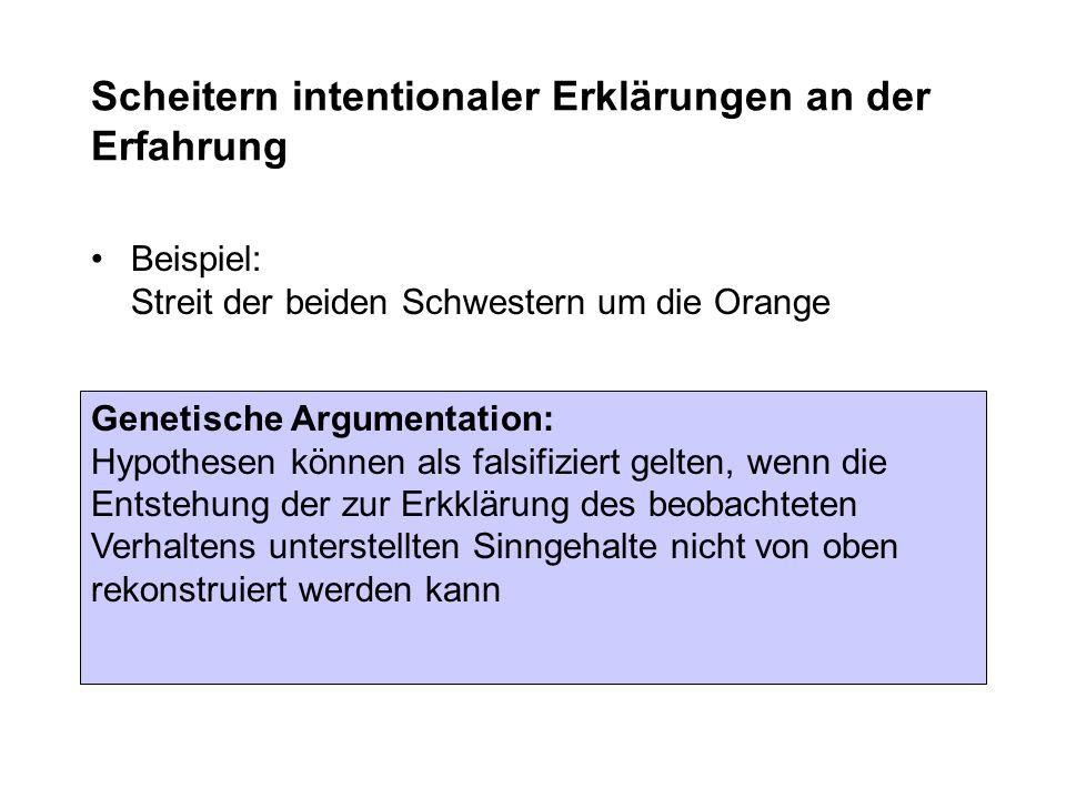 Scheitern intentionaler Erklärungen an der Erfahrung Beispiel: Streit der beiden Schwestern um die Orange Genetische Argumentation: Hypothesen können