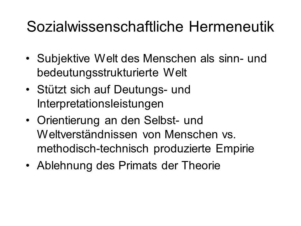 Sozialwissenschaftliche Hermeneutik Subjektive Welt des Menschen als sinn- und bedeutungsstrukturierte Welt Stützt sich auf Deutungs- und Interpretati