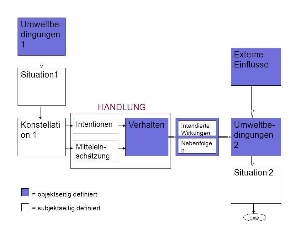Situation1 Umweltbe- dingungen 1 Konstellati on 1 VerhaltenUmweltbe- dingungen 2 Situation 2 Externe Einflüsse Intentionen Mittelein- schätzung Intend