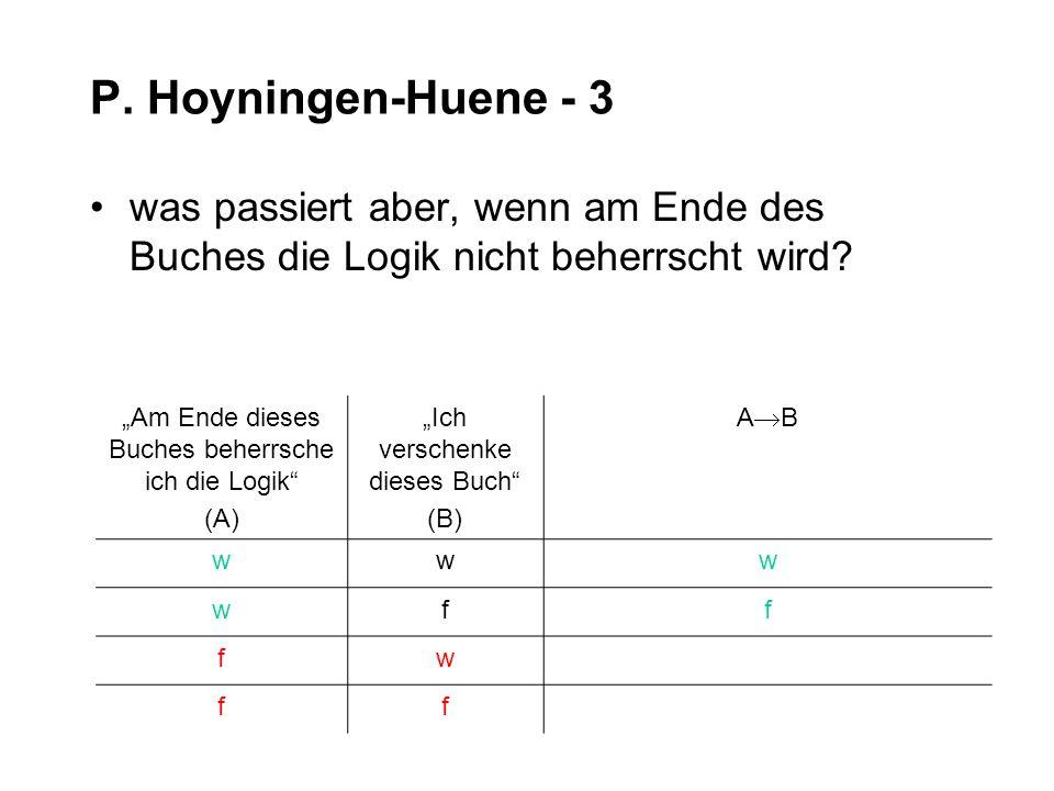 P. Hoyningen-Huene - 3 was passiert aber, wenn am Ende des Buches die Logik nicht beherrscht wird? Am Ende dieses Buches beherrsche ich die Logik (A)