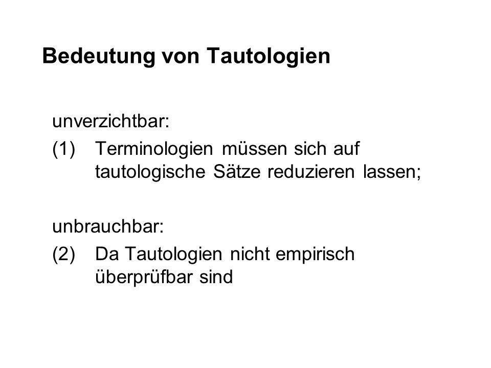 Bedeutung von Tautologien unverzichtbar: (1)Terminologien müssen sich auf tautologische Sätze reduzieren lassen; unbrauchbar: (2)Da Tautologien nicht