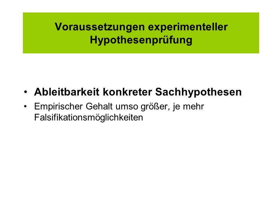 Voraussetzungen experimenteller Hypothesenprüfung Ableitbarkeit konkreter Sachhypothesen Empirischer Gehalt umso größer, je mehr Falsifikationsmöglich