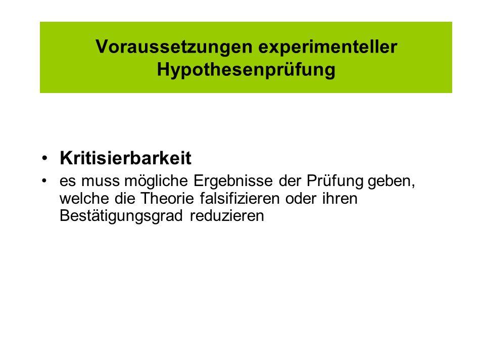 Voraussetzungen experimenteller Hypothesenprüfung Kritisierbarkeit es muss mögliche Ergebnisse der Prüfung geben, welche die Theorie falsifizieren ode