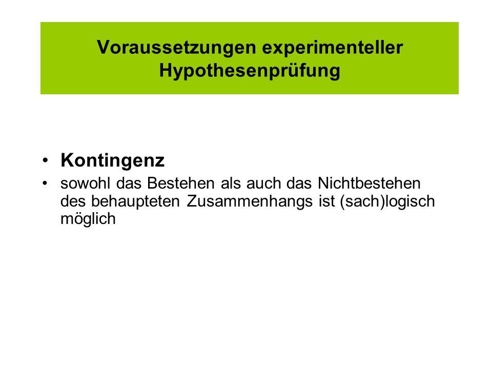 Voraussetzungen experimenteller Hypothesenprüfung Kontingenz sowohl das Bestehen als auch das Nichtbestehen des behaupteten Zusammenhangs ist (sach)lo