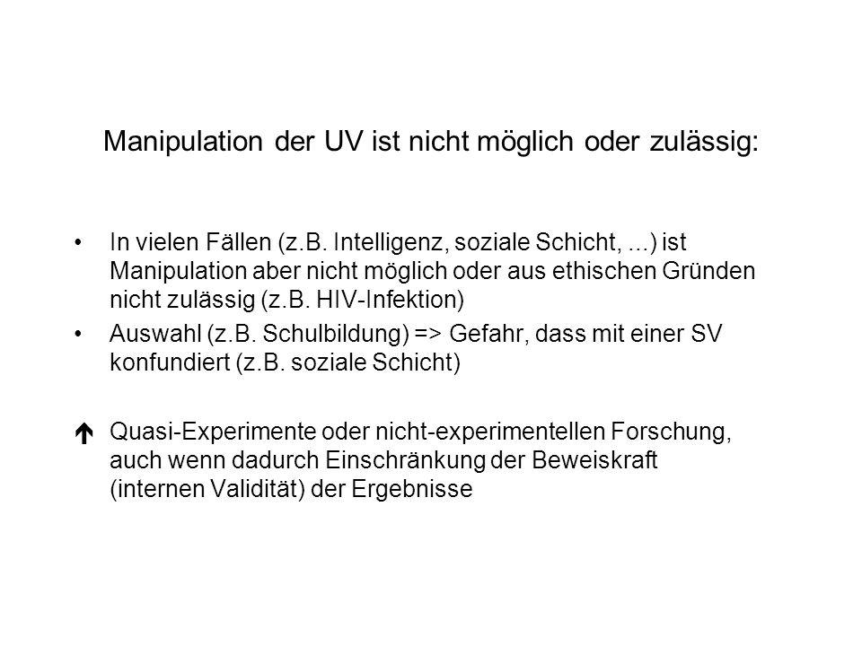 Manipulation der UV ist nicht möglich oder zulässig: In vielen Fällen (z.B. Intelligenz, soziale Schicht,...) ist Manipulation aber nicht möglich oder