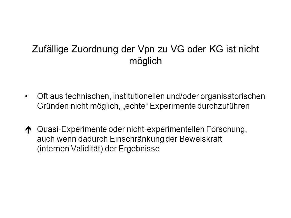 Zufällige Zuordnung der Vpn zu VG oder KG ist nicht möglich Oft aus technischen, institutionellen und/oder organisatorischen Gründen nicht möglich, ec