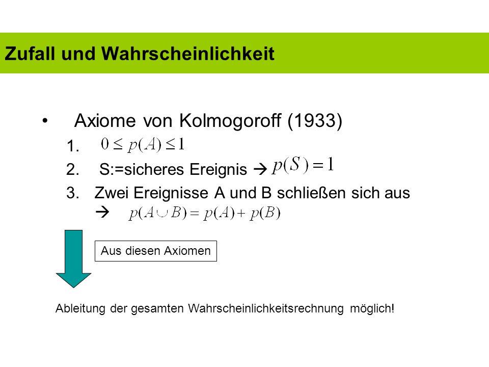 Problem: Die Axiome von Kolmogoroff liefern noch kein Modell des Wahrscheinlichkeitsbegriffs Orientierung des Wahrscheinlichkeitsbegriffs am Zufall (Lorenzen 1974, 1985); zufälliges Ereignis = Ereignis, das unter Benutzung eines Zufallsgenerators herbeigeführt wurde