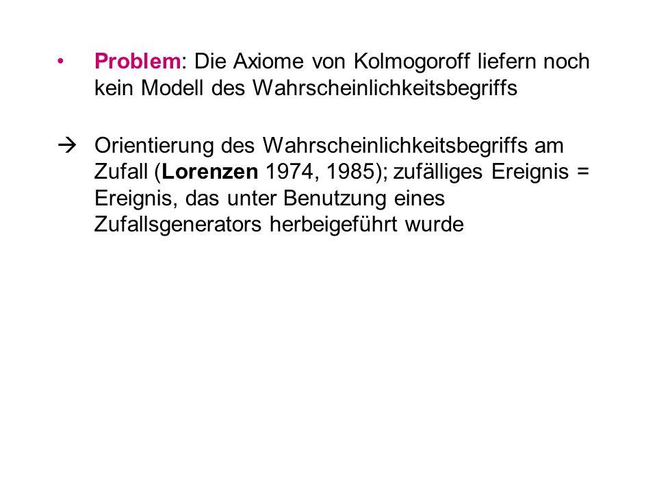 Problem: Die Axiome von Kolmogoroff liefern noch kein Modell des Wahrscheinlichkeitsbegriffs Orientierung des Wahrscheinlichkeitsbegriffs am Zufall (L