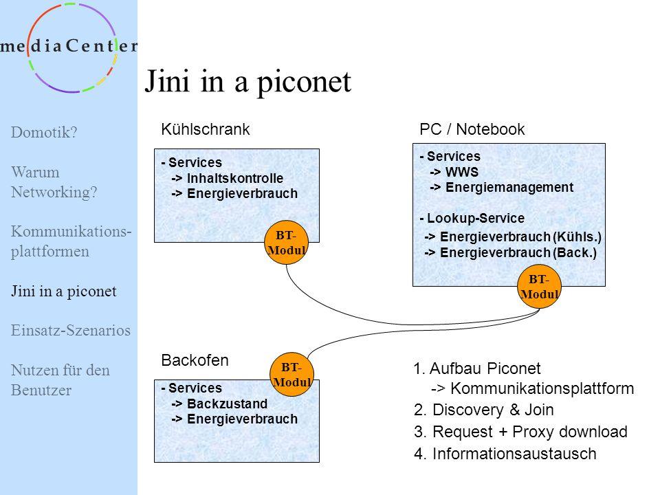 Domotik? Warum Networking? Kommunikations- plattformen Jini in a piconet Einsatz-Szenarios Nutzen für den Benutzer Bluetooth Features Benutzt das 2,4