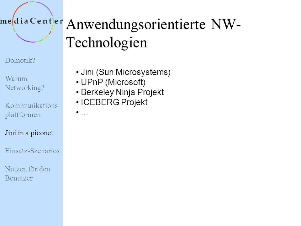 Domotik? Warum Networking? Kommunikations- plattformen Jini in a piconet Einsatz-Szenarios Nutzen für den Benutzer Jini in a piconet - Services -> Inh