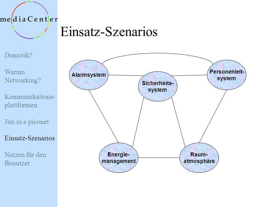 Domotik? Warum Networking? Kommunikations- plattformen Jini in a piconet Einsatz-Szenarios Nutzen für den Benutzer Anwendungsorientierte NW- Technolog
