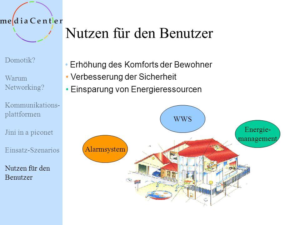 Domotik? Warum Networking? Kommunikations- plattformen Jini in a piconet Einsatz-Szenarios Nutzen für den Benutzer Einsatz-Szenarios Alarmsystem Siche