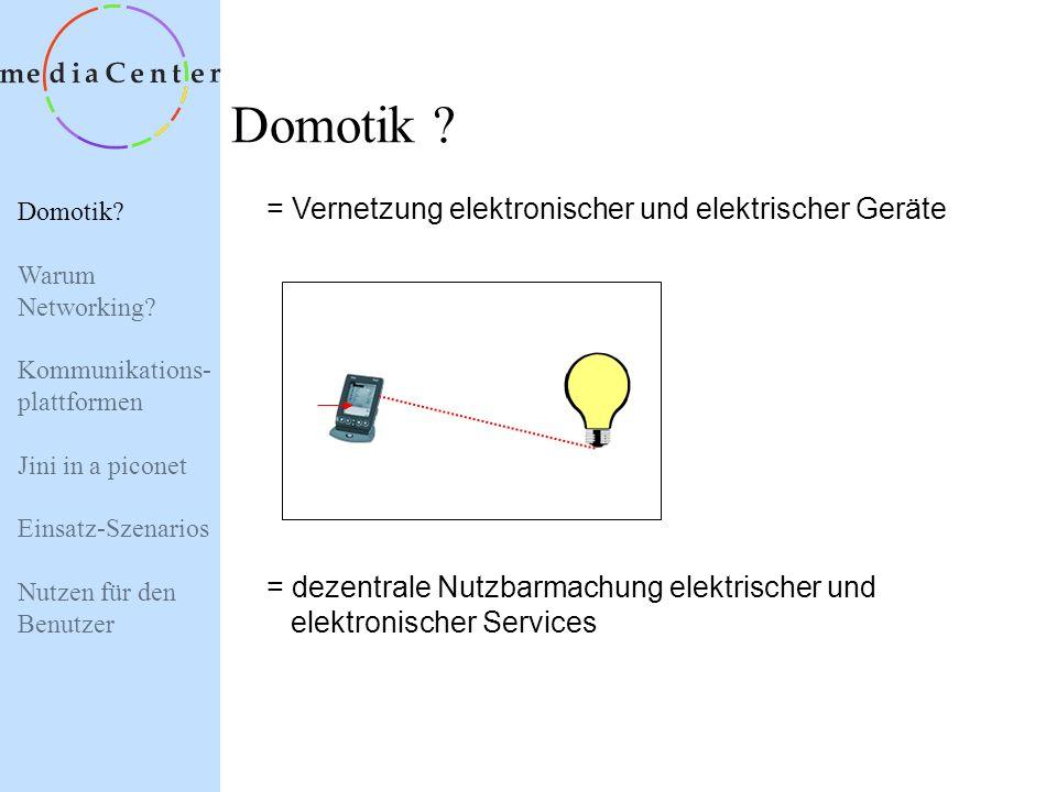 Domotik? Warum Networking? Kommunikations- plattformen Jini in a piconet Einsatz-Szenarios Nutzen für den Benutzer Einsatz intelligenter Netzwerktechn