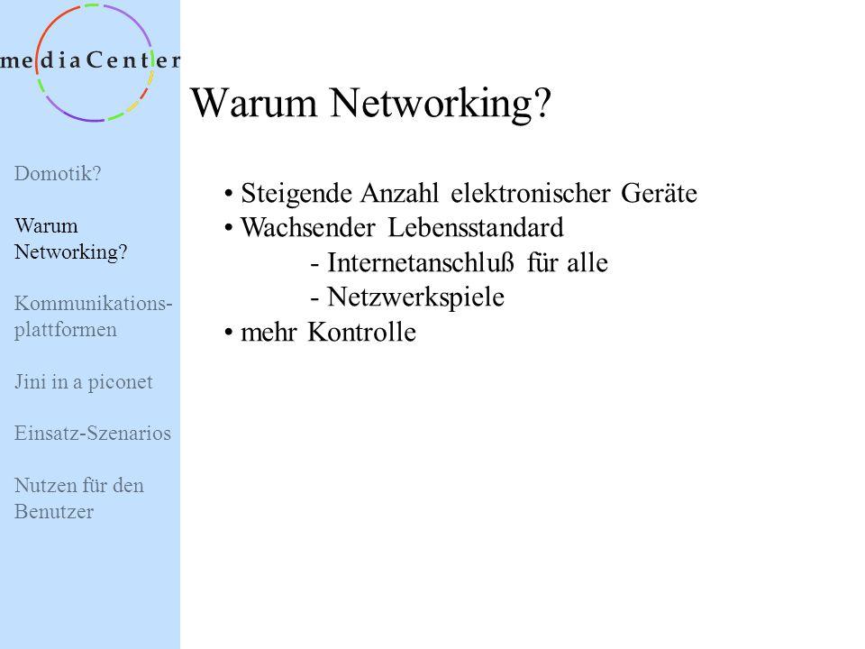 Domotik? Warum Networking? Kommunikations- plattformen Jini in a piconet Einsatz-Szenarios Nutzen für den Benutzer Domotik ? = Vernetzung elektronisch