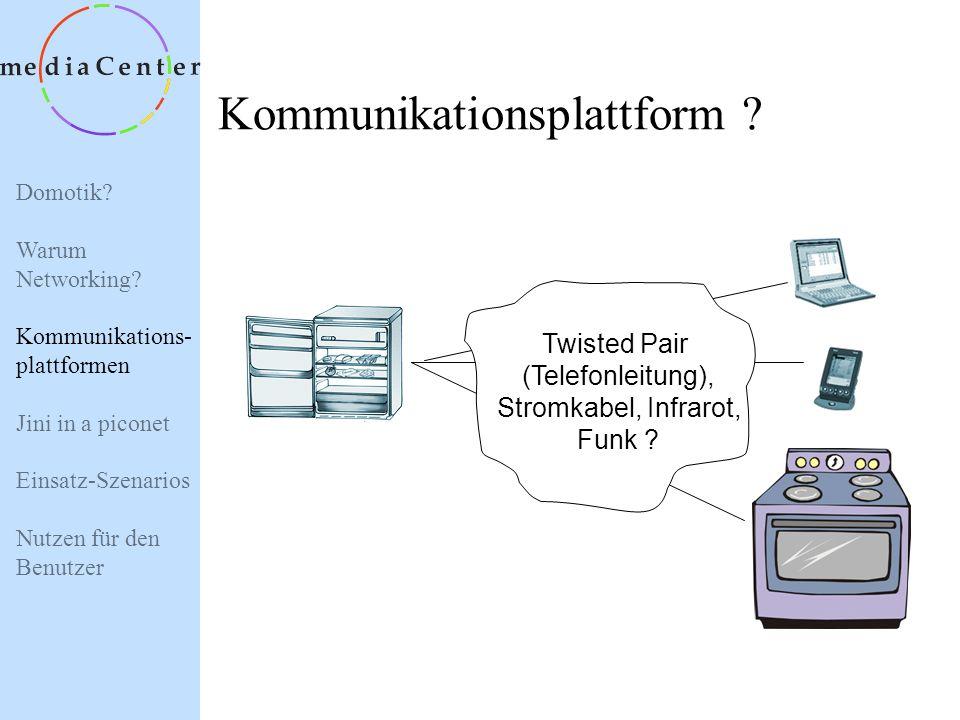 Domotik? Warum Networking? Kommunikations- plattformen Jini in a piconet Einsatz-Szenarios Nutzen für den Benutzer Trend 2: Internetbenutzung