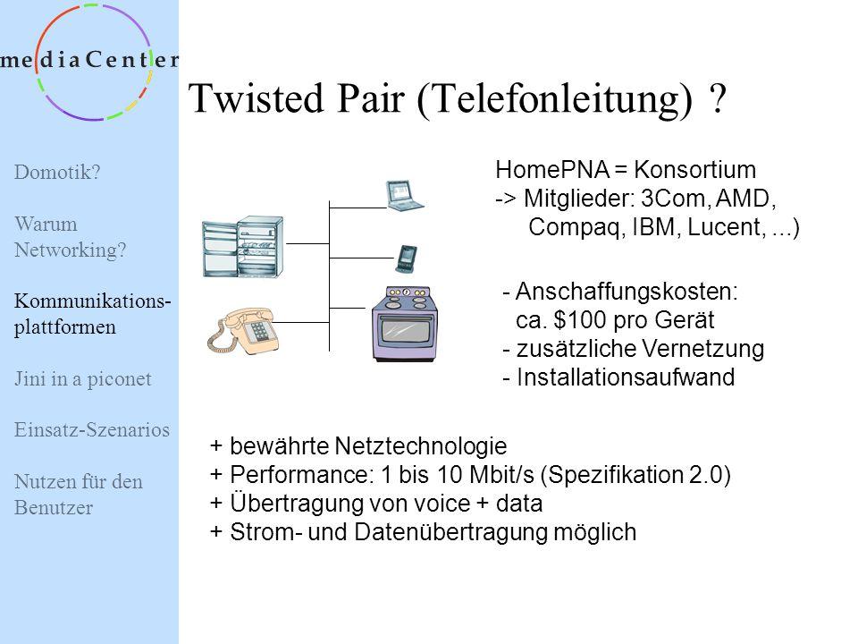 Domotik? Warum Networking? Kommunikations- plattformen Jini in a piconet Einsatz-Szenarios Nutzen für den Benutzer Kommunikationsplattform ? Twisted P