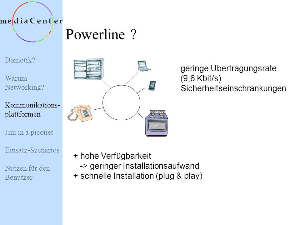 Domotik? Warum Networking? Kommunikations- plattformen Jini in a piconet Einsatz-Szenarios Nutzen für den Benutzer Twisted Pair (Telefonleitung) ? - A