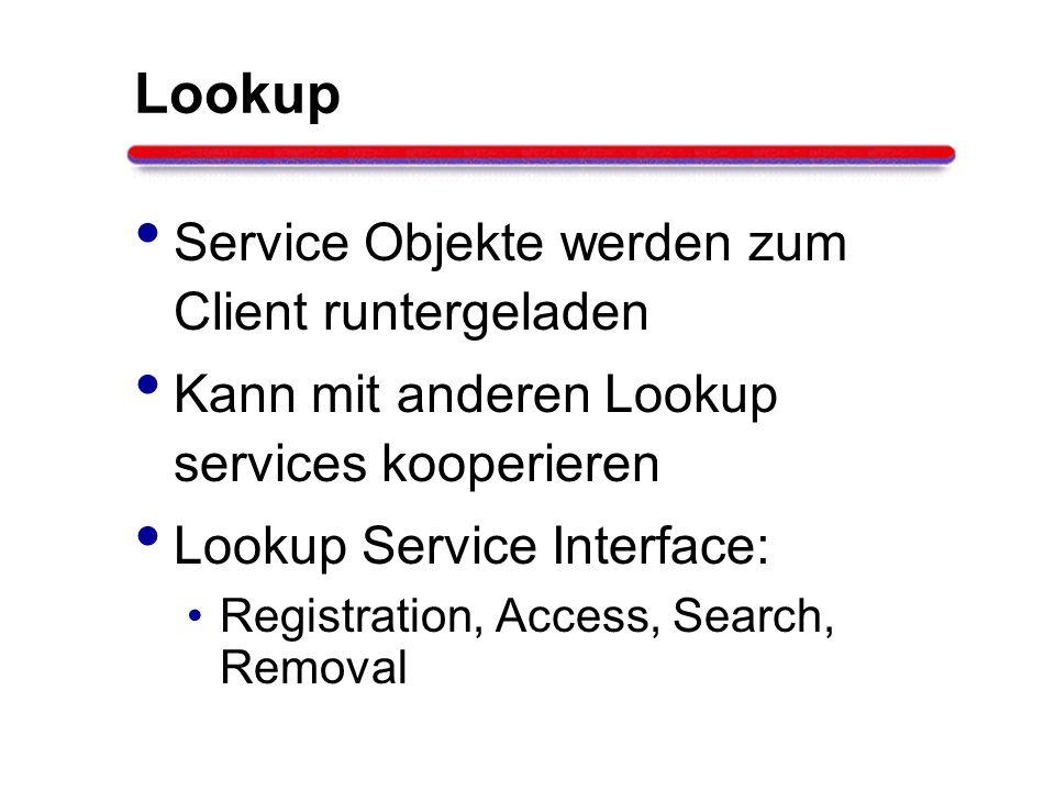 Lookup Service Objekte werden zum Client runtergeladen Kann mit anderen Lookup services kooperieren Lookup Service Interface: Registration, Access, Se