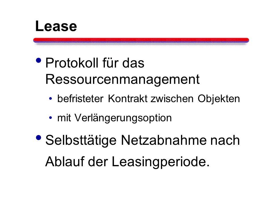 Lease Protokoll für das Ressourcenmanagement befristeter Kontrakt zwischen Objekten mit Verlängerungsoption Selbsttätige Netzabnahme nach Ablauf der L
