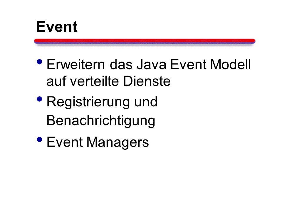 Event Erweitern das Java Event Modell auf verteilte Dienste Registrierung und Benachrichtigung Event Managers