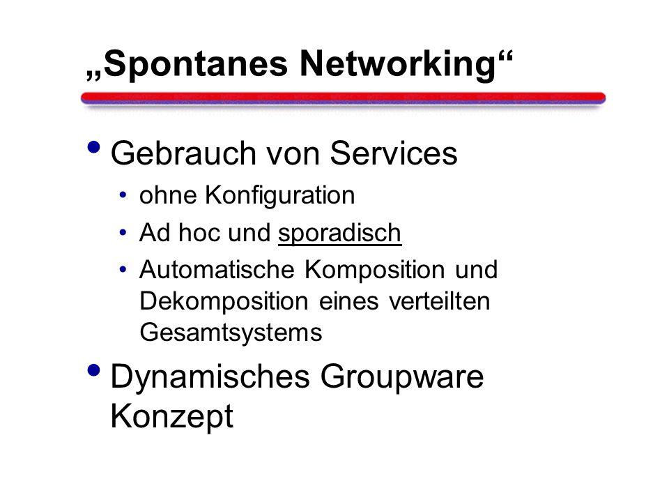 Spontanes Networking Gebrauch von Services ohne Konfiguration Ad hoc und sporadisch Automatische Komposition und Dekomposition eines verteilten Gesamt