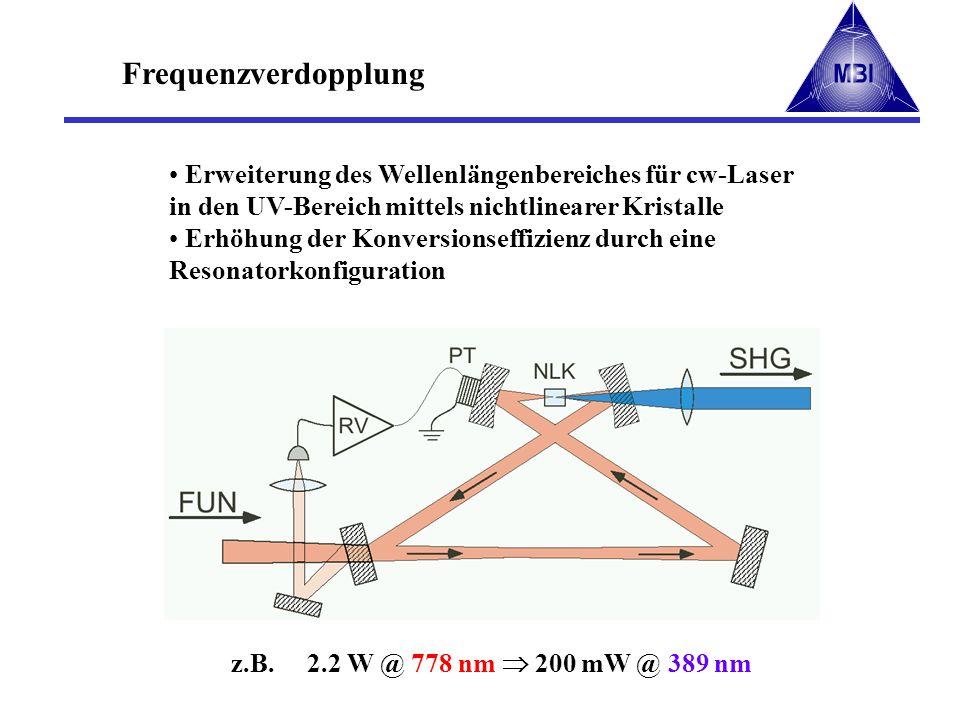 Frequenzverdopplung Erweiterung des Wellenlängenbereiches für cw-Laser in den UV-Bereich mittels nichtlinearer Kristalle Erhöhung der Konversionseffiz