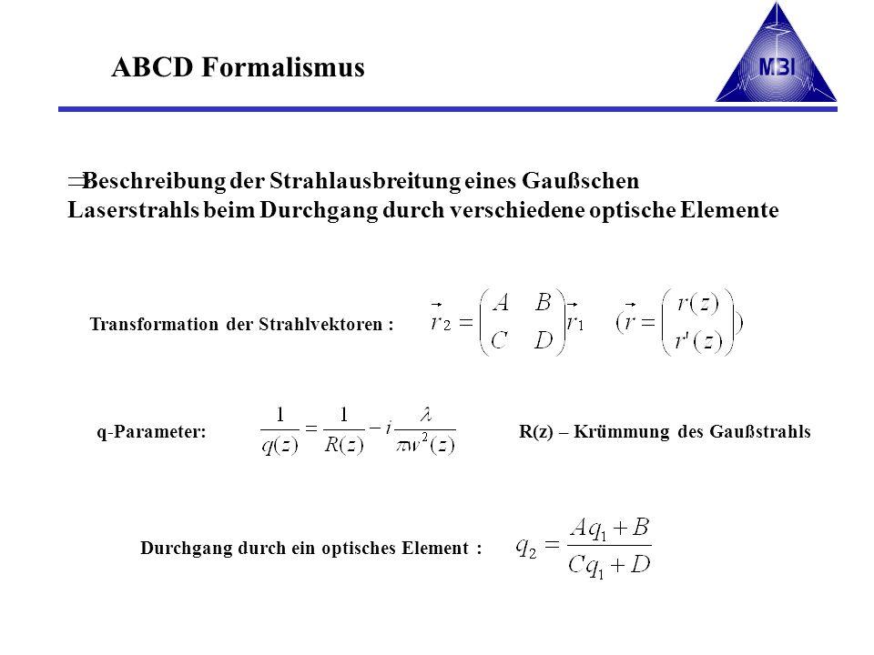 ABCD Formalismus - Praxis Produkt der Stahlmatrizen ergibt die exakte Abbildung Berechnung von Strahltaille und Krümmungsradius in beliebigen optischen Anordnungen die optischen Elemente werden durch unterschiedliche Strahlmatrizen beschrieben geradlinige Ausbreitung : dünne Linse : z.B.