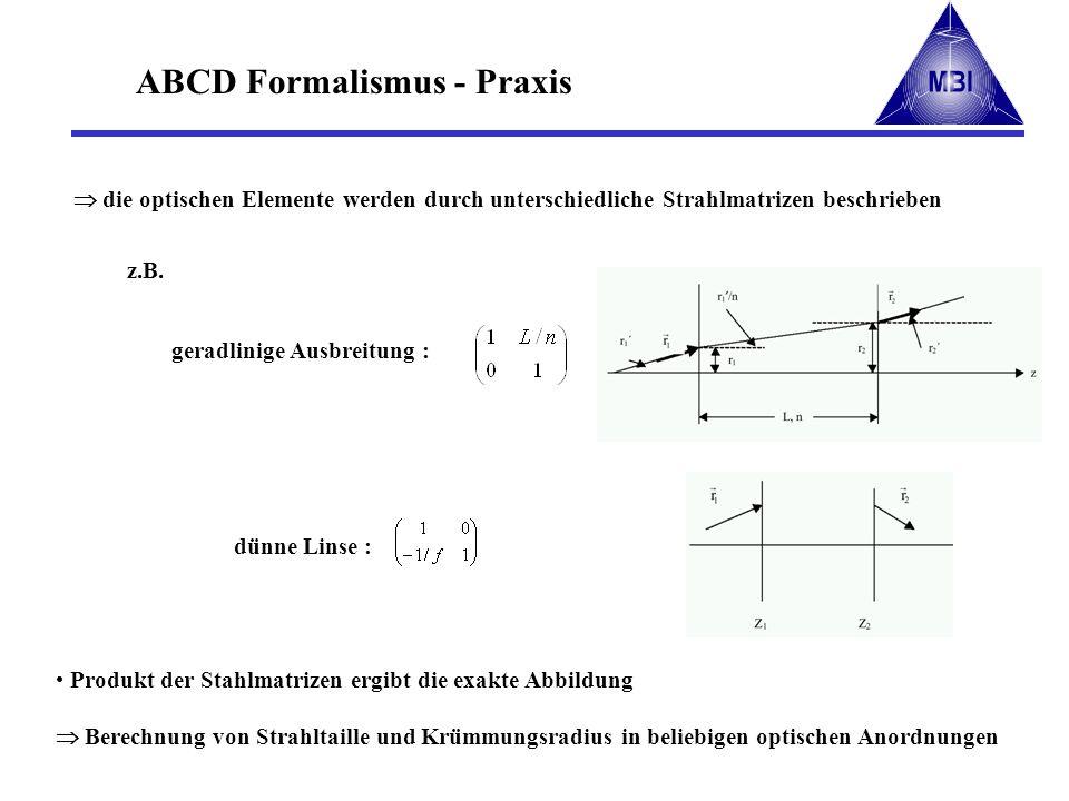 ABCD Formalismus - Praxis Produkt der Stahlmatrizen ergibt die exakte Abbildung Berechnung von Strahltaille und Krümmungsradius in beliebigen optische