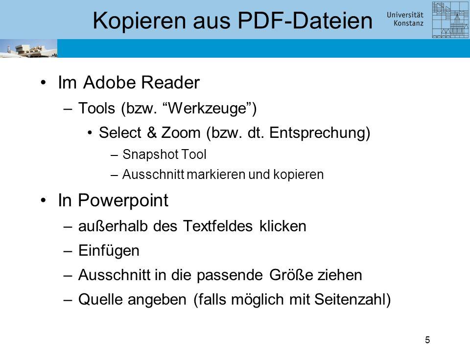 4 Kopieren aus PDF-Dateien Eigene Grafiken zu erstellen ist sehr zeitaufwändig. Mit dem Adobe Reader können Sie Ausschnitte aus PDF-Dateien direkt in