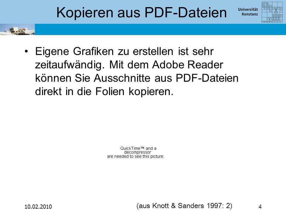 10.02.20104 Kopieren aus PDF-Dateien Eigene Grafiken zu erstellen ist sehr zeitaufwändig.