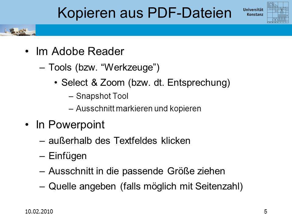 10.02.20105 Kopieren aus PDF-Dateien Im Adobe Reader –Tools (bzw.