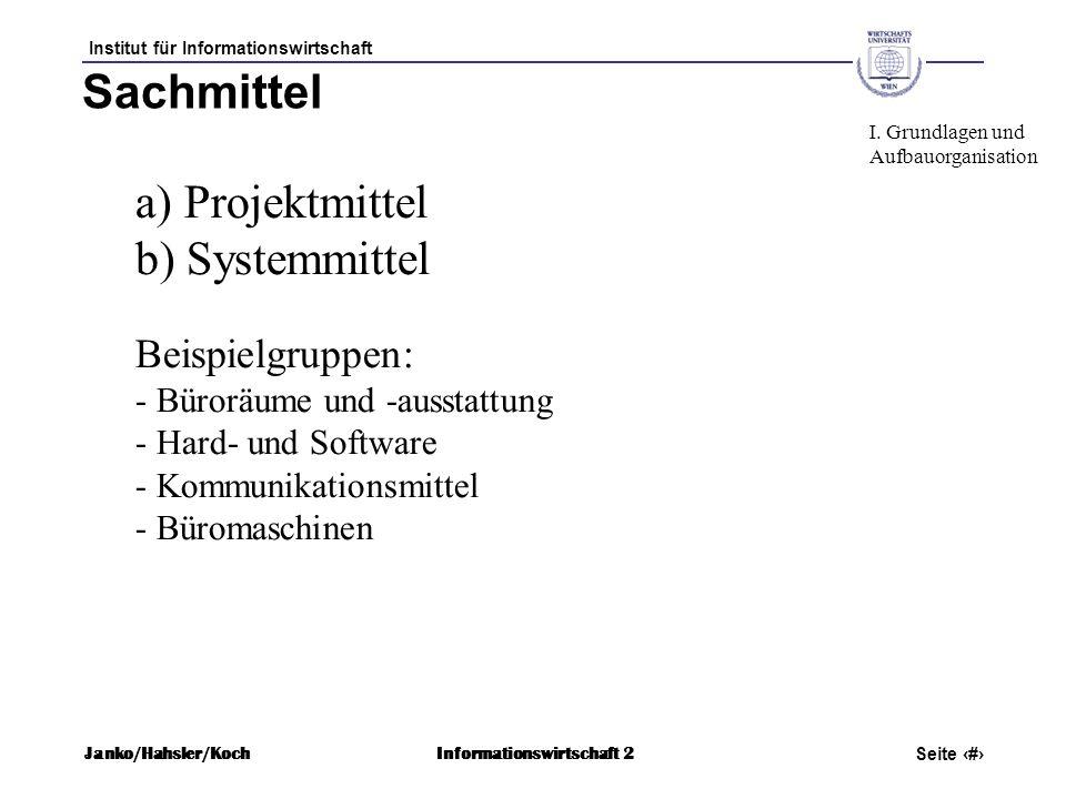 Institut für Informationswirtschaft Seite 12 Janko/Hahsler/KochInformationswirtschaft 2 Sachmittel a) Projektmittel b) Systemmittel Beispielgruppen: -