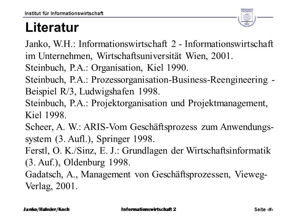 Institut für Informationswirtschaft Seite 2 Janko/Hahsler/KochInformationswirtschaft 2 Janko, W.H.: Informationswirtschaft 2 - Informationswirtschaft