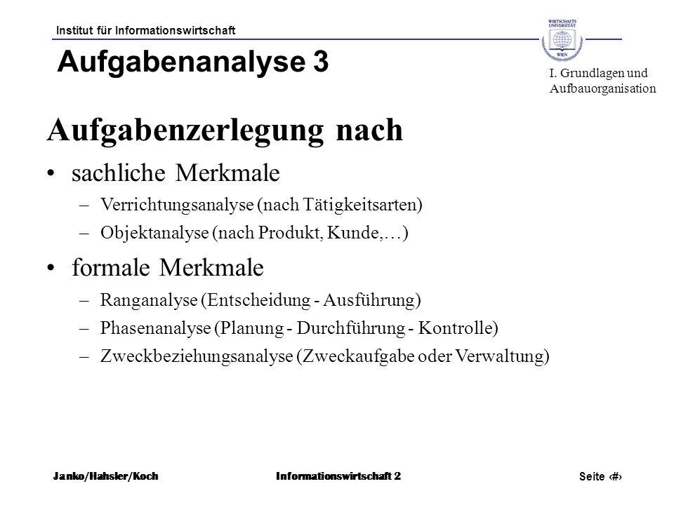 Institut für Informationswirtschaft Seite 21 Janko/Hahsler/KochInformationswirtschaft 2 Aufgabenanalyse 3 Aufgabenzerlegung nach sachliche Merkmale –V