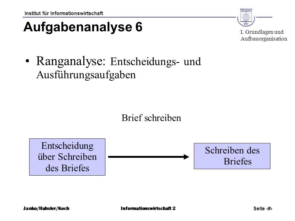 Institut für Informationswirtschaft Seite 24 Janko/Hahsler/KochInformationswirtschaft 2 Aufgabenanalyse 6 Ranganalyse: Entscheidungs- und Ausführungsa