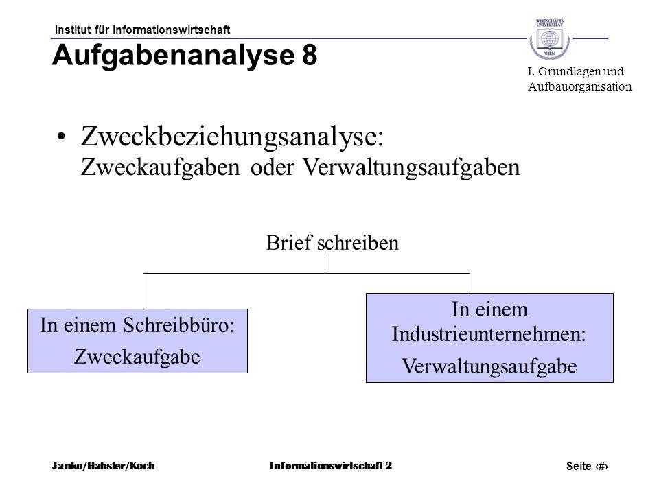 Institut für Informationswirtschaft Seite 26 Janko/Hahsler/KochInformationswirtschaft 2 Aufgabenanalyse 8 Zweckbeziehungsanalyse: Zweckaufgaben oder V