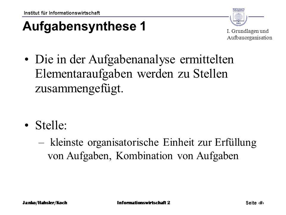 Institut für Informationswirtschaft Seite 27 Janko/Hahsler/KochInformationswirtschaft 2 Aufgabensynthese 1 Die in der Aufgabenanalyse ermittelten Elem