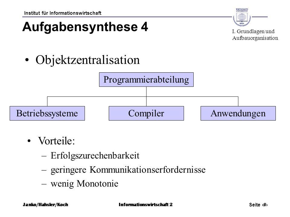 Institut für Informationswirtschaft Seite 30 Janko/Hahsler/KochInformationswirtschaft 2 Aufgabensynthese 4 Objektzentralisation Vorteile: –Erfolgszure