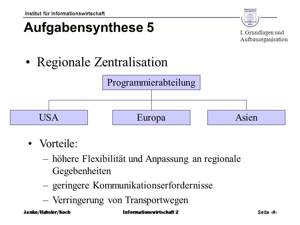 Institut für Informationswirtschaft Seite 31 Janko/Hahsler/KochInformationswirtschaft 2 Aufgabensynthese 5 Regionale Zentralisation Programmierabteilu